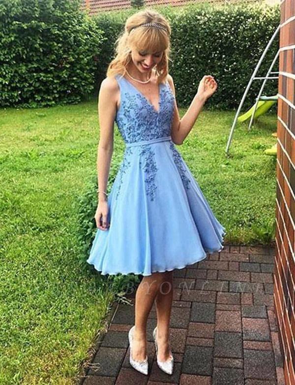 Modern Sleeveless A-Line Appliques V-Neck Short Prom Dress