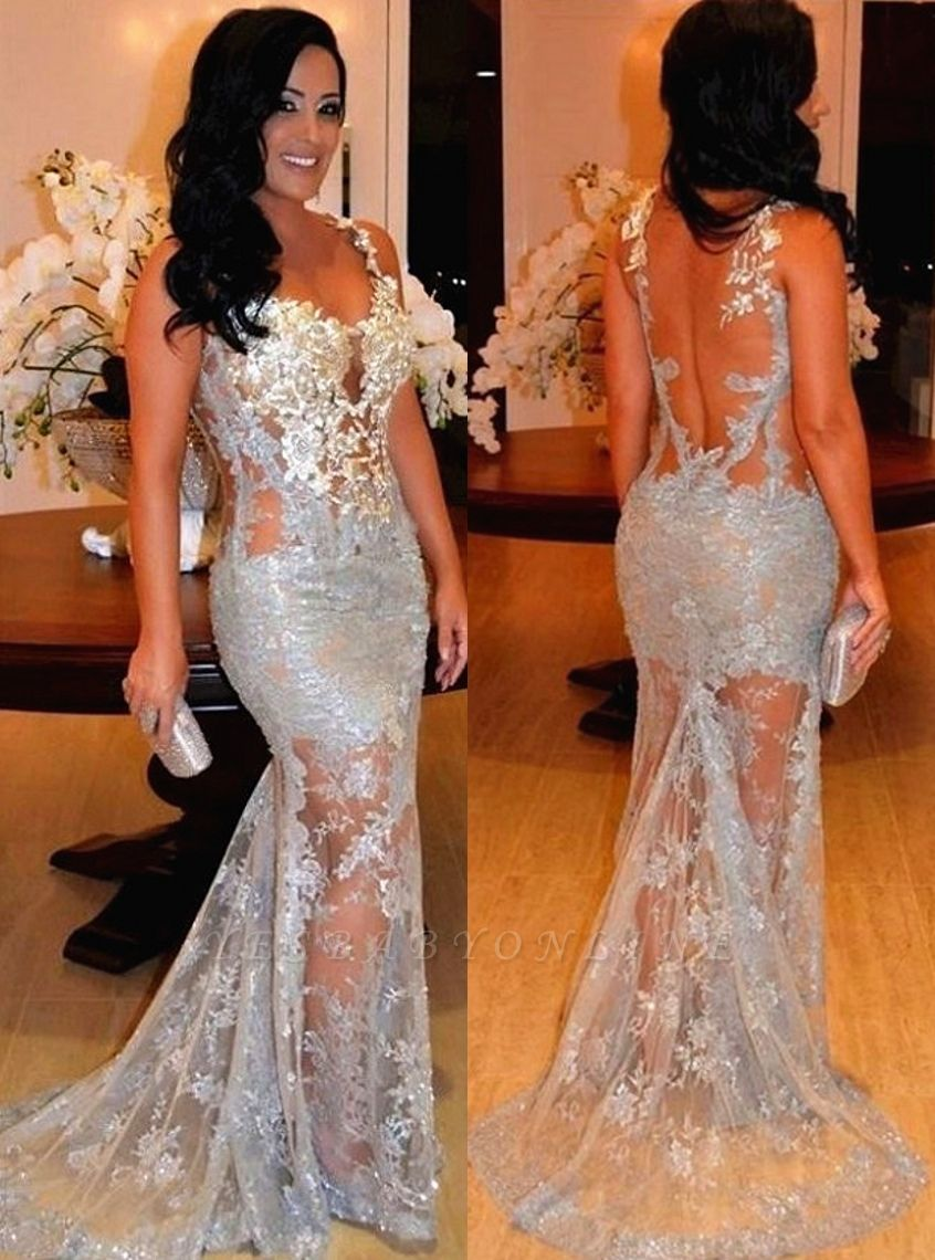 2019 Sexy Straps Sleeveless Sheer Lace Appliques Mermaid Long Evening Dress