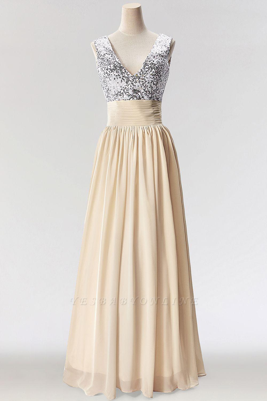 A-Line  V-Neck Sleeveless Floor-Length Bridesmaid Dress with Sequins