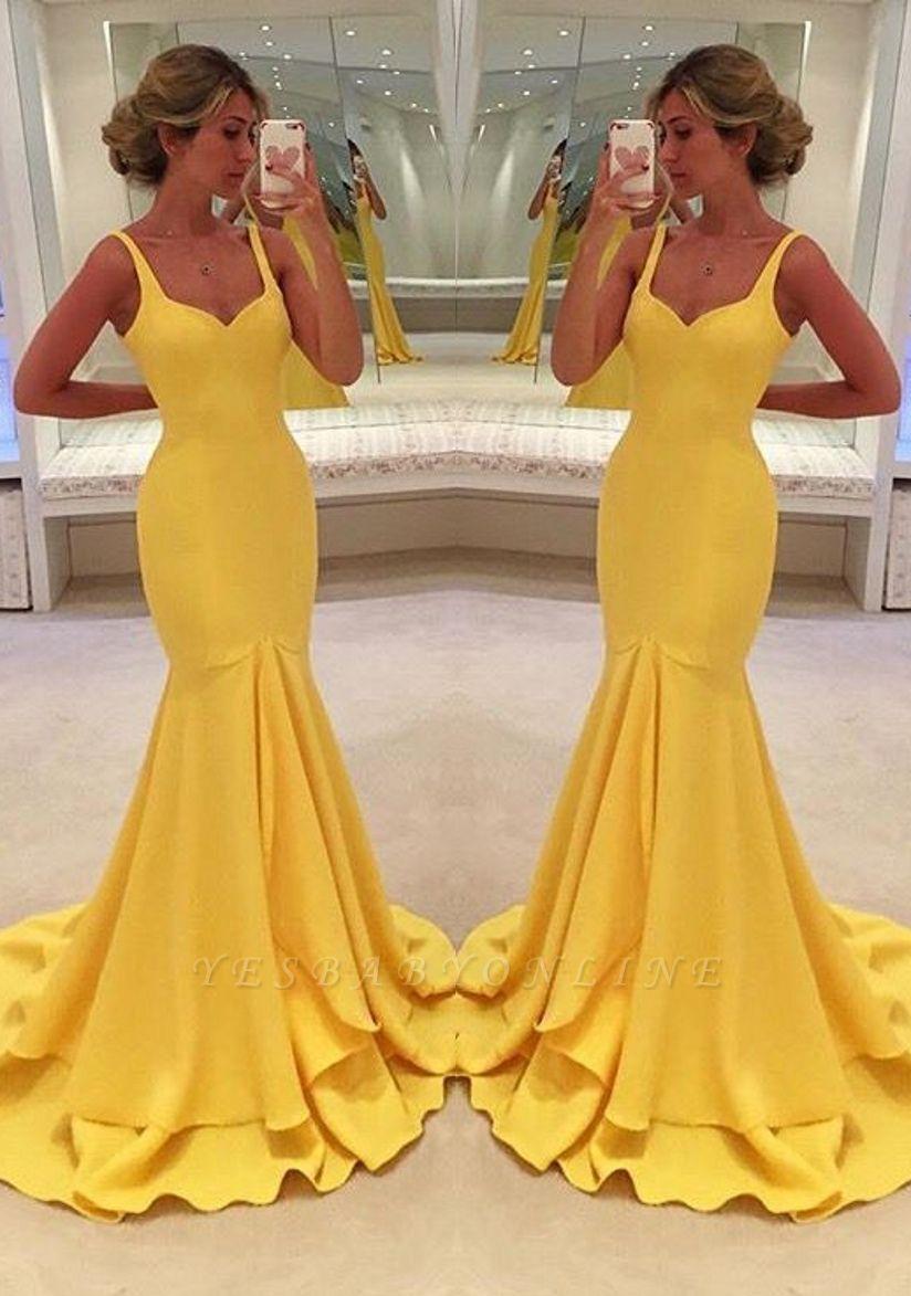 Mermaid Yellow Spaghetti-Straps Simple Tiered Prom Dress