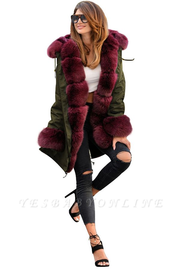 Hooded Camo Military Parka Coat with Premium Red Fur Trim