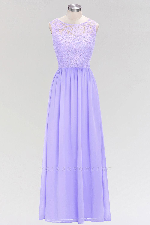 A-line  Lace Jewel Sleeveless Floor-Length Bridesmaid Dress with Ruffles