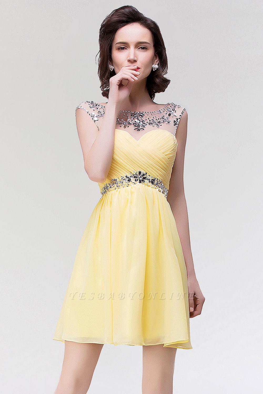 A-Line  Sweetheart Sleeveless Ruffles Mini Bridesmaid Dress with Beading
