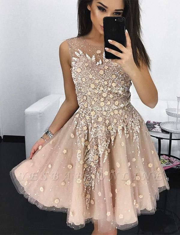Stylish A-Line Appliques Jewel Tulle Sleeveless Homecoming Dress