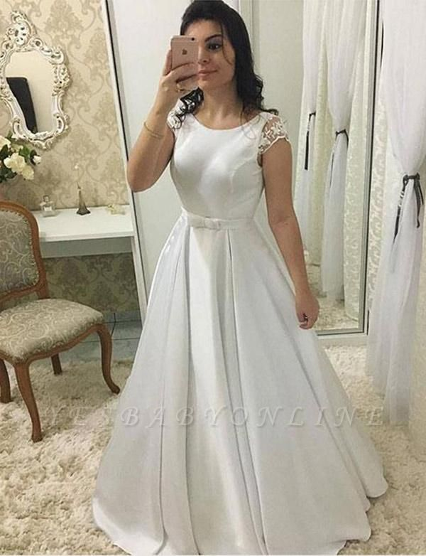 Elegant Round Neck Cap Sleeves A-Line Long Prom Dress with Lace