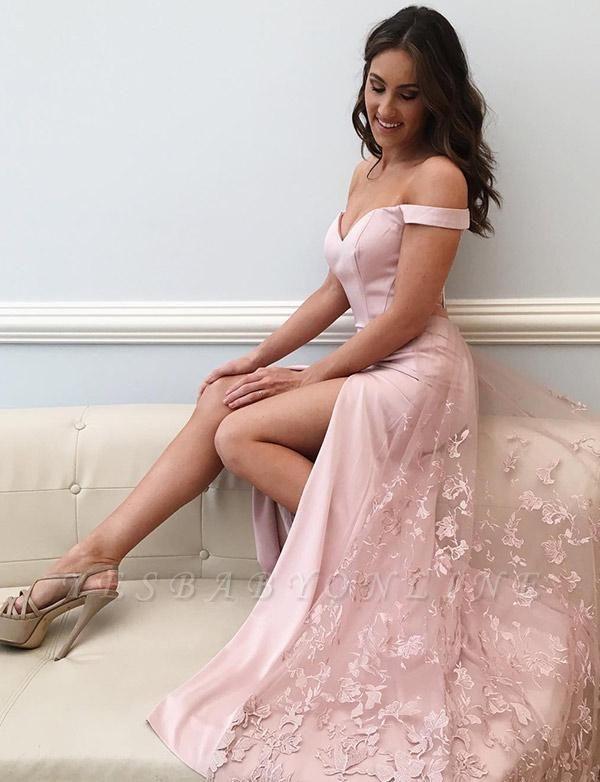 Elegant Lace Off-The-Shoulder Split Front A-Line Pink  Prom Dress
