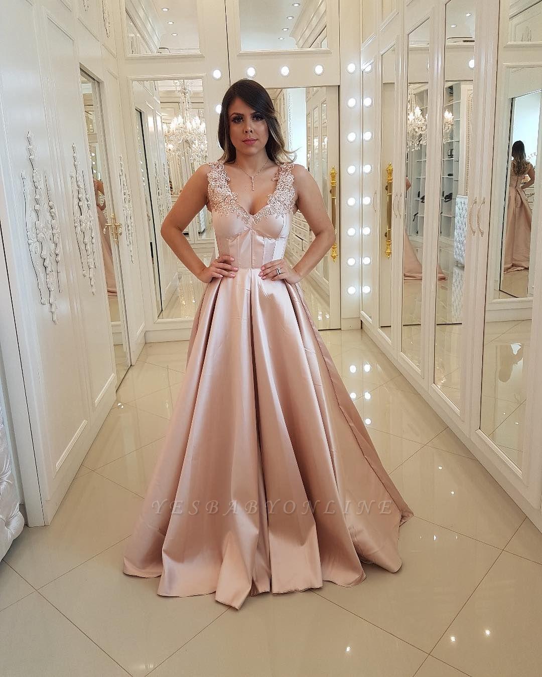 Unique Straps Appliques A-Line Lace Sleeveless Prom Dress