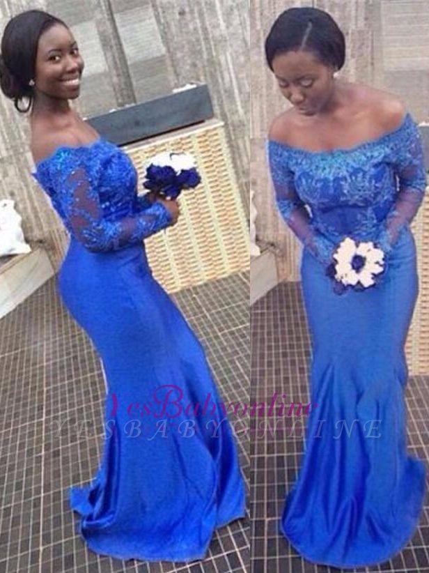 Mermaid Long-Sleeves Off-the-Shoulder Royal-Blue Appliques Popular Prom Dresses