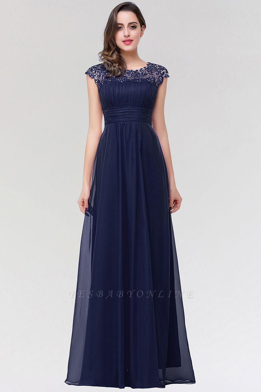 A-line  Lace Jewel Sleeveless Floor-length Bridesmaid Dresses