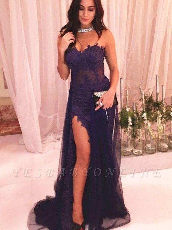 Sexy Sweetheart Side Slit Prom Dresses | Sheath Appliques Evening Dresses