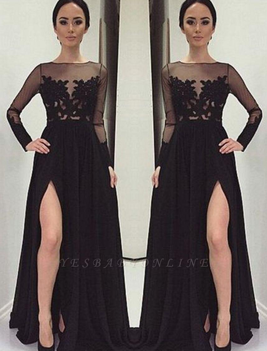 Long-Sleeves Bateau Side-Slit Appliques Black Elegant Prom Dress