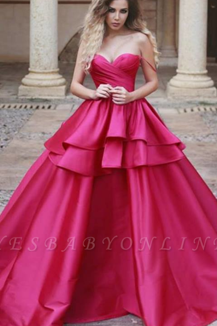 Sweetheart Red Evening Dresses 2019,Ruffles Ball Gown Prom Dress
