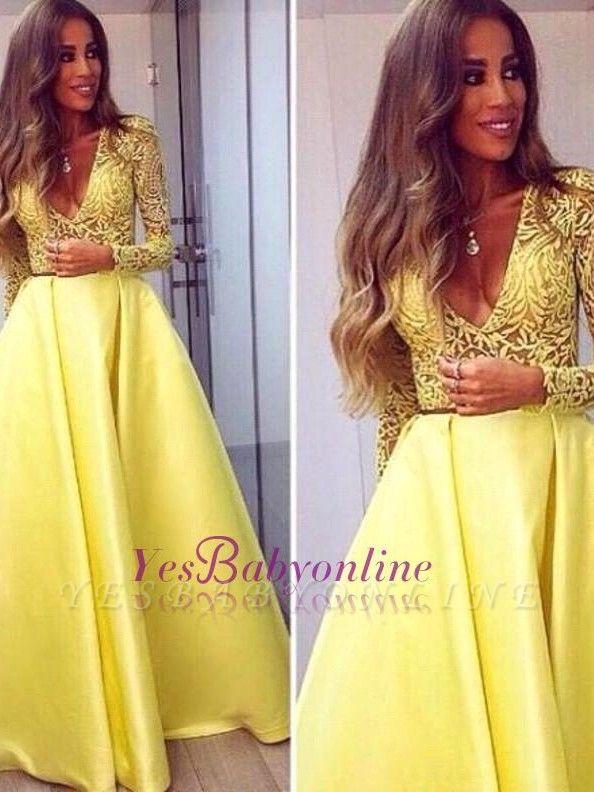 A-line Long Sleeves Deep Yellow V-neck Sexy Popular Evening Dresses