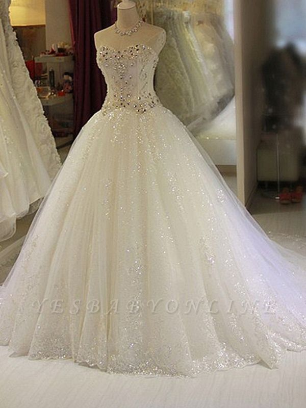 Glittery Beaded Wedding Dresses | Sweetheart Sleeveless Lace Appliques Bridal Gowns