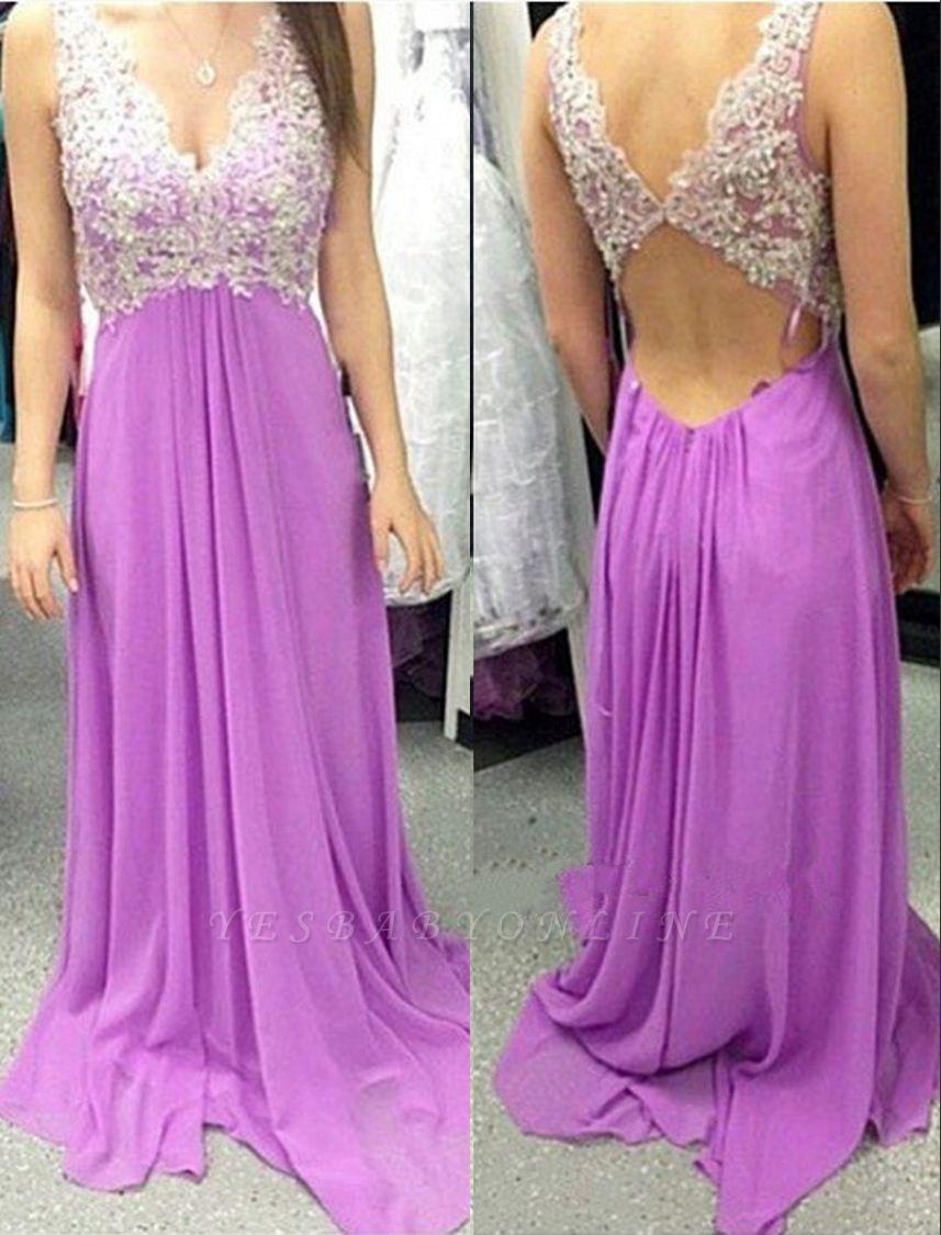 Applique  Long A-Line Empire Sleeveless V-Neck Prom Dresses