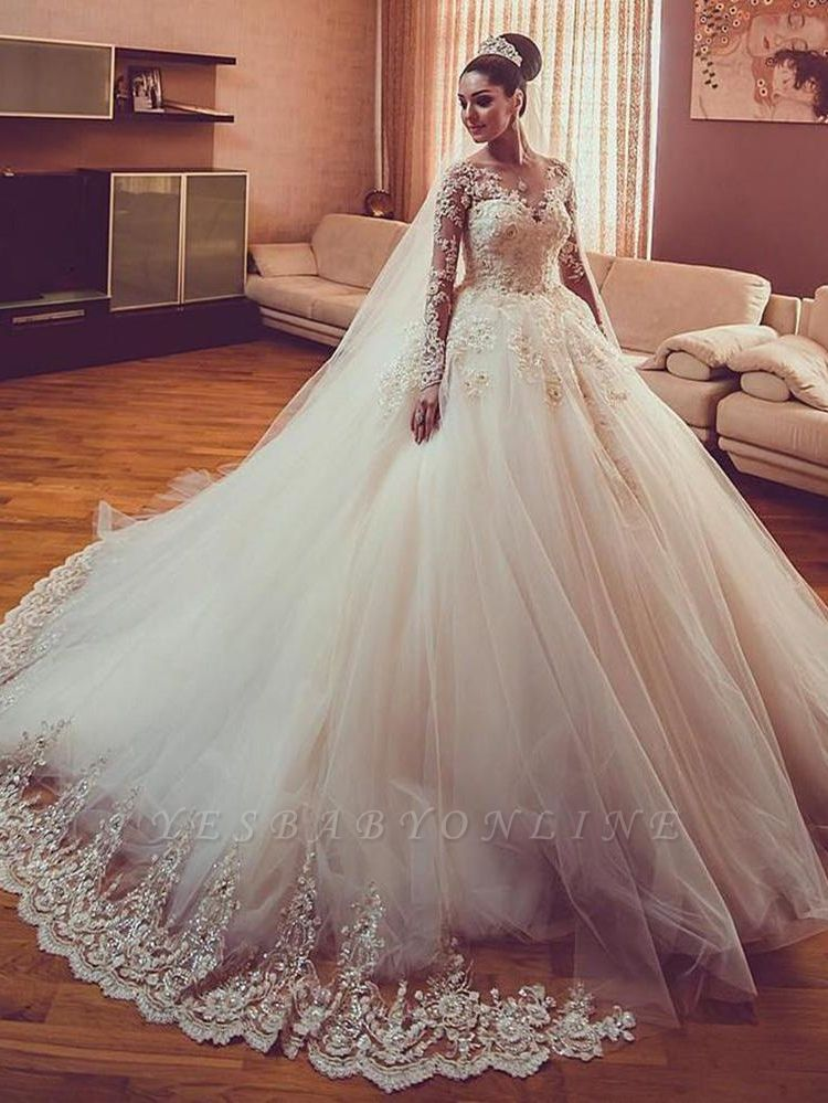 Tulle Lace V-Neck Wedding Dresses | Long Sleeves Classic Wedding Gowns with Appliques