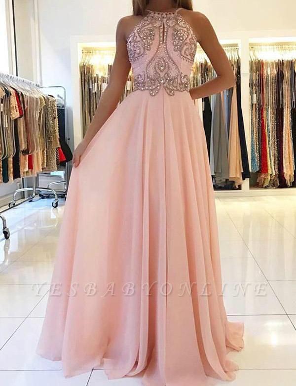 Fashion A-Line Spaghetti Straps Beading Pink Floor-Length Prom Dress