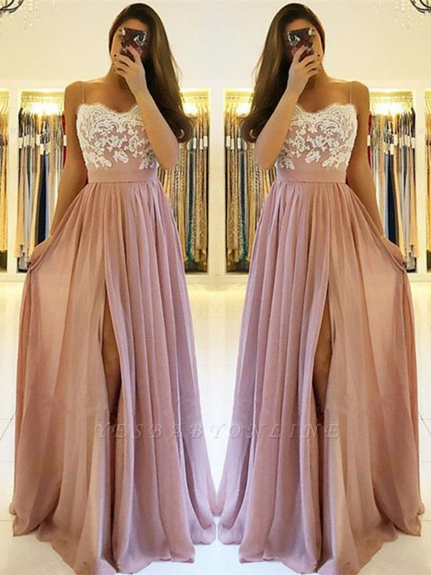 Spaghetti-Straps A-line Slit Prom Dresses | Sweetheart A-line Lace Evening Gowns