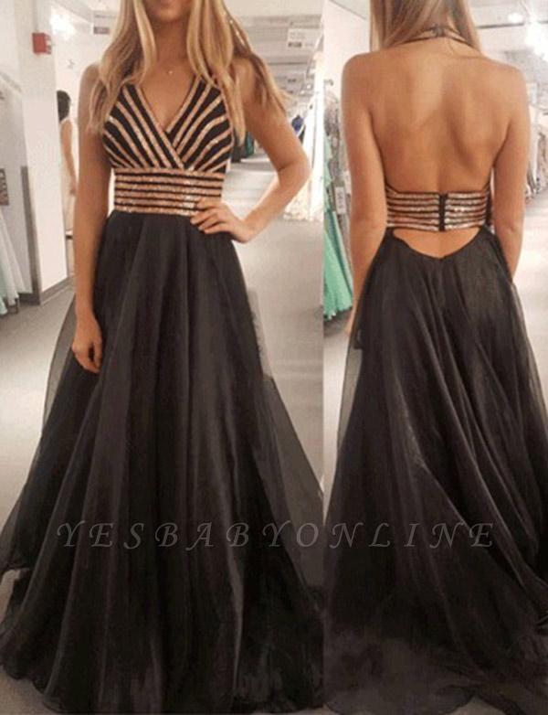 Modern A-Line Halter Sequins Sleeveless Black Long Prom Dress
