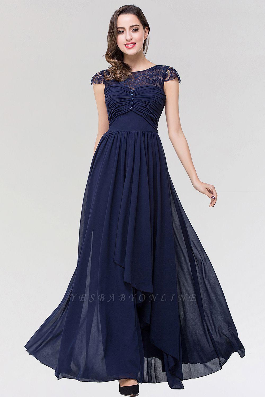 Elegant A-Line  Lace Scoop Sleeveless Ruffles Floor-Length Bridesmaid Dress with beadworks