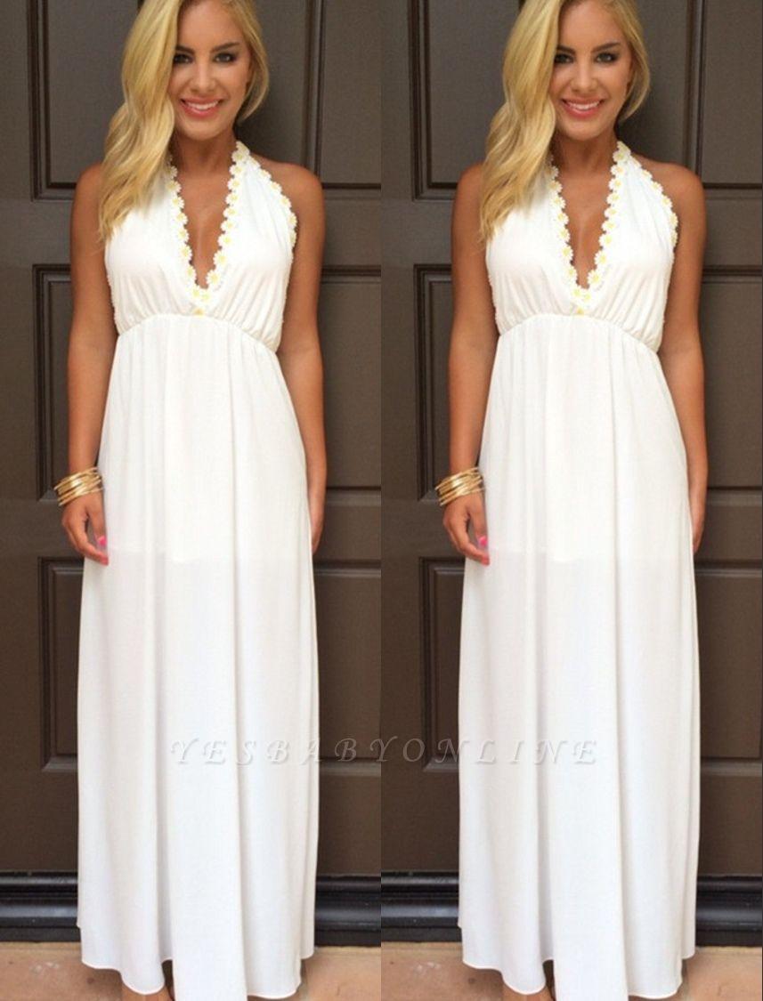 Attractive V-Neck White Backless Summer Halter Maxi Prom Dresses