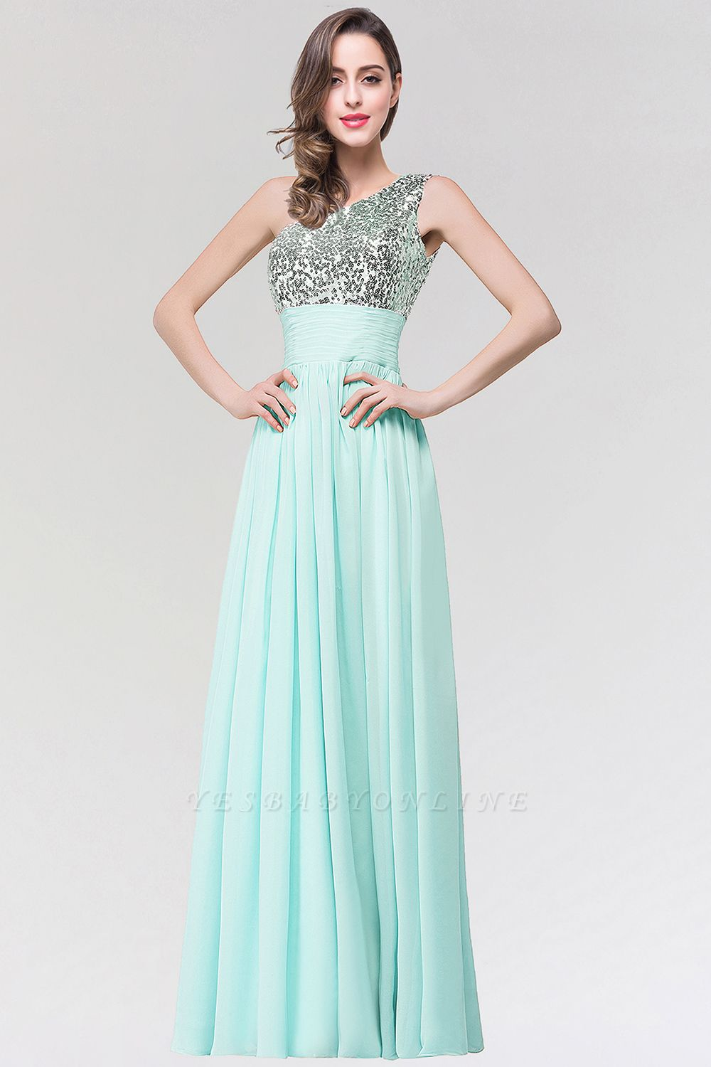 A-line  One-Shoulder Sleeveless Floor-Length Bridesmaid Dress with Sequins