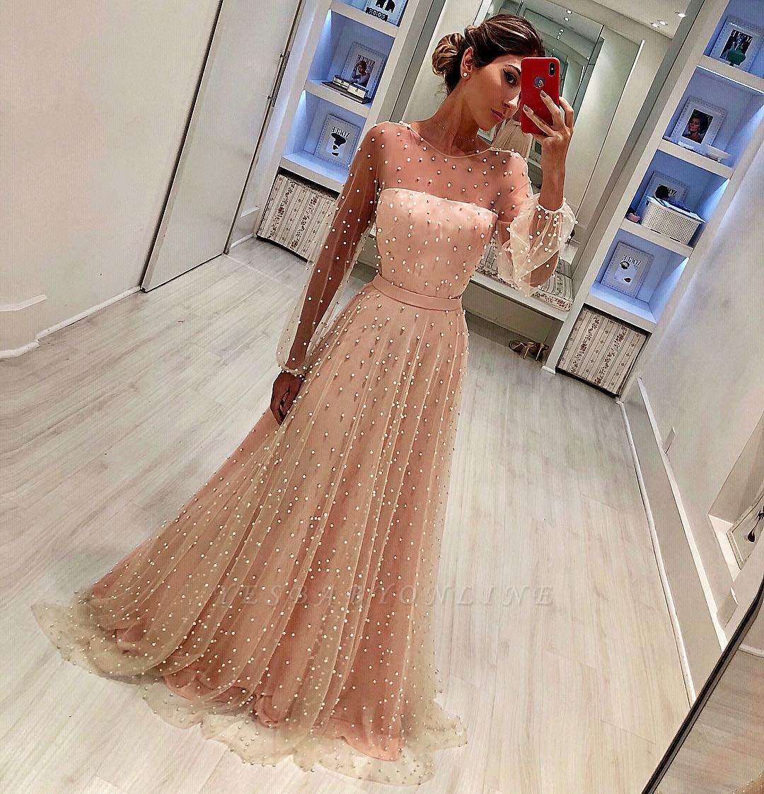Round Neck Long Sleeves A-Line  Belt Prom Dress