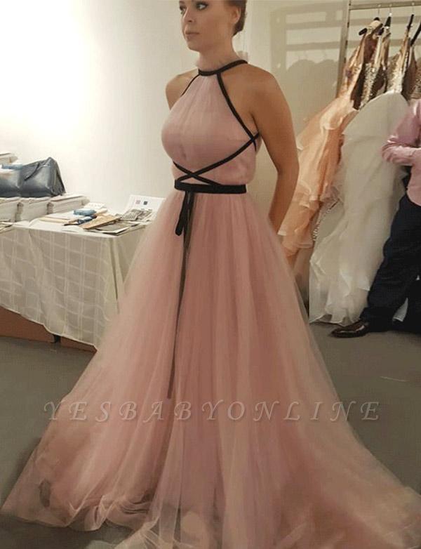 Unique Sleeveless High Neck  A-Line Pink Long Prom Evening Dress