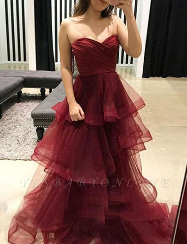 Stunning A-Line Tiered Oganza Sweetheart Burgundy Long Prom Evening Dress