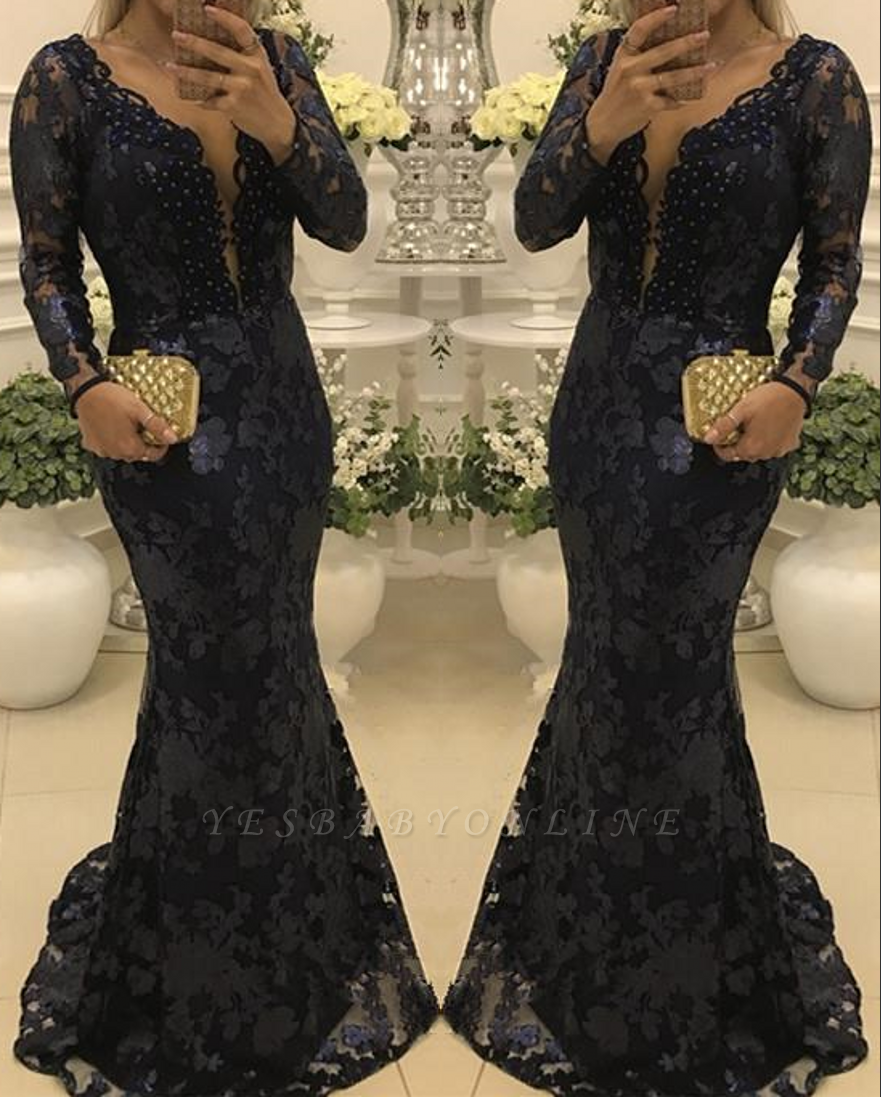 Glamorous Scoop Sweep-train Long Sleeves Lace Mermaid Prom Dresses