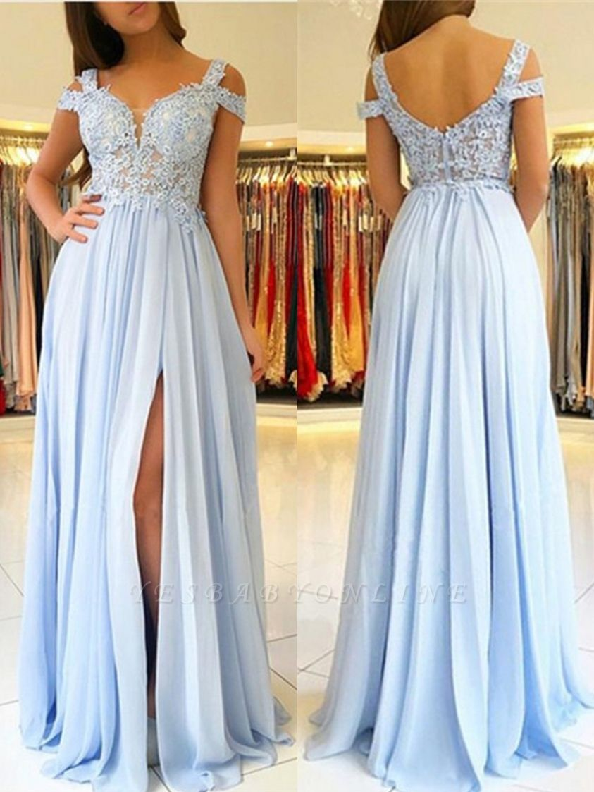 A-line Long Slit Prom Dresses | Appliques Spaghetti Evening Gowns