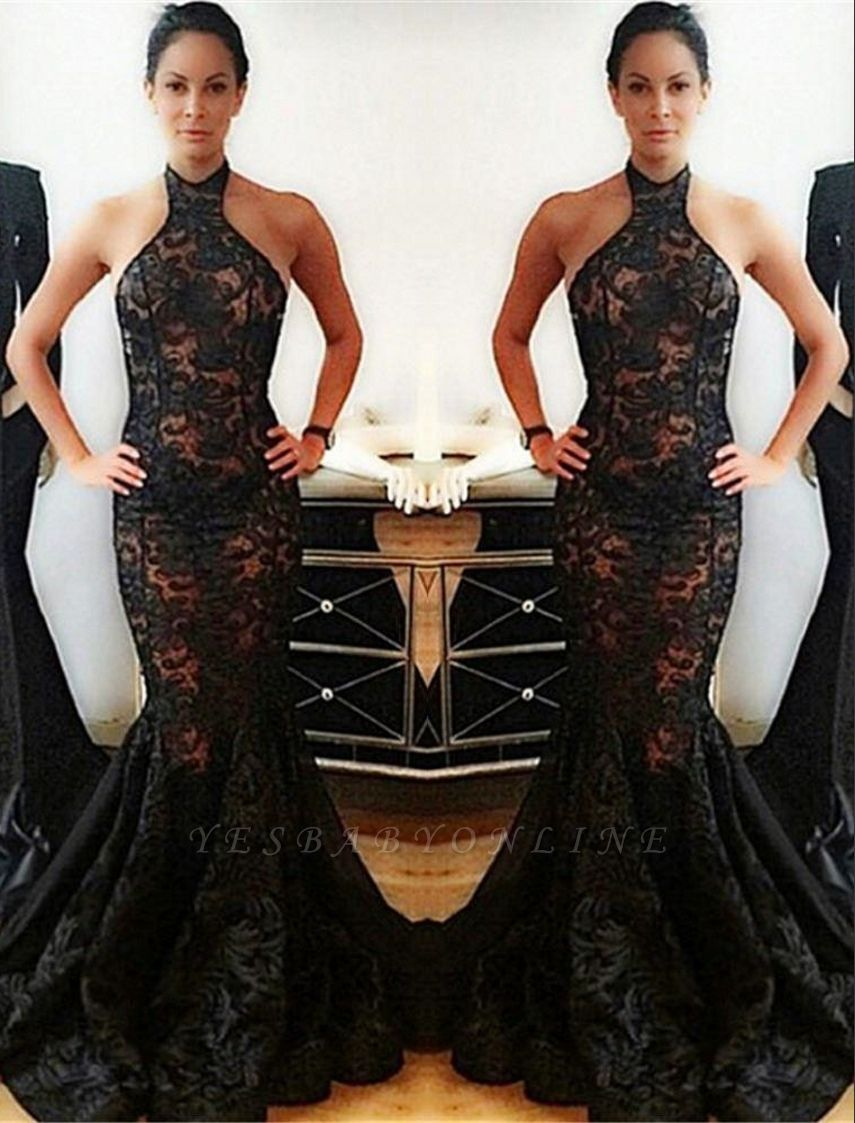 Lace Backless Mermaid Halter Popular Black Prom Dress
