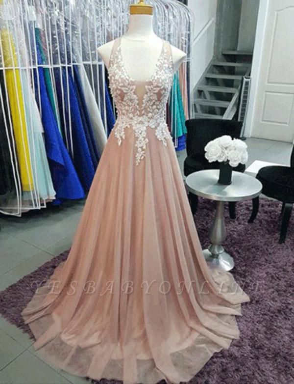 Charming A-Line Sleeveless V-Neck Appliques Sweep Train Prom Dress
