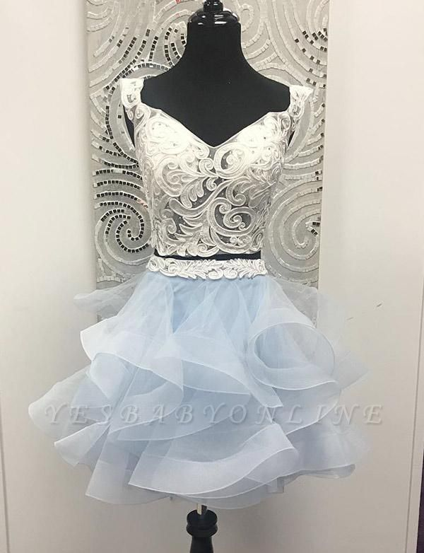 Two Piece Sleeveless A-Line Appliques V-Neck Organza Short Prom Homecoming Dress
