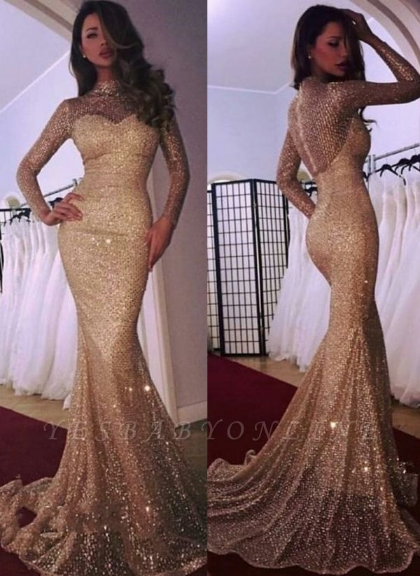 Mermaid High Neck Long Sleeves Sequins Court Train Evening Dresses