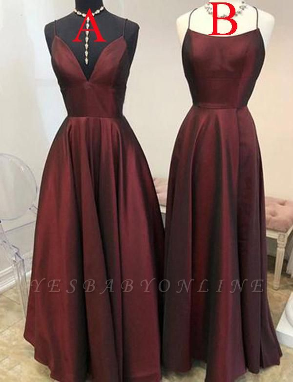 Simple Burgundy A-Line Spaghetti Straps Sleeveless Floor-Length Prom Dress