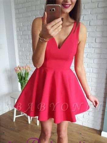 A-line Red Sleeveless Short Simple Straps Homecoming Dress