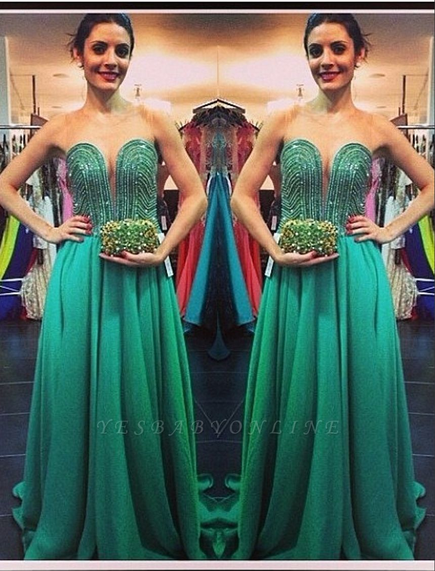 Green Sweetheart Sweep Beading A-line Train Evening Gown