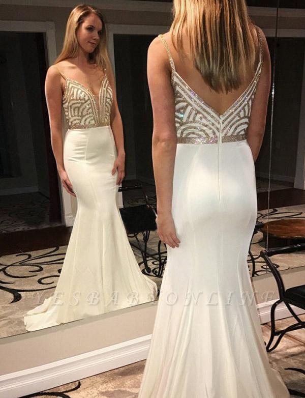 Elegant Sleeveless Mermaid Spaghetti Straps V-Neck Sequins White Prom Dress