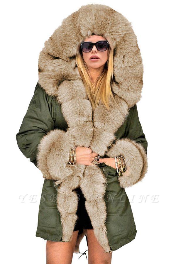 Hunt Camo Military Parka Coat with Premium Brown Fur Trim