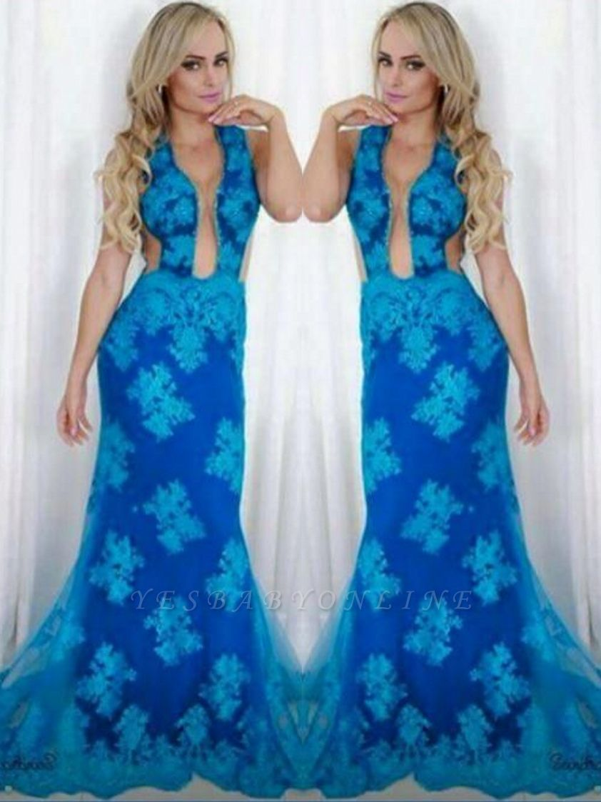 V-neck Sweep Sheath Blue Train Backless Sexy Evening Gown
