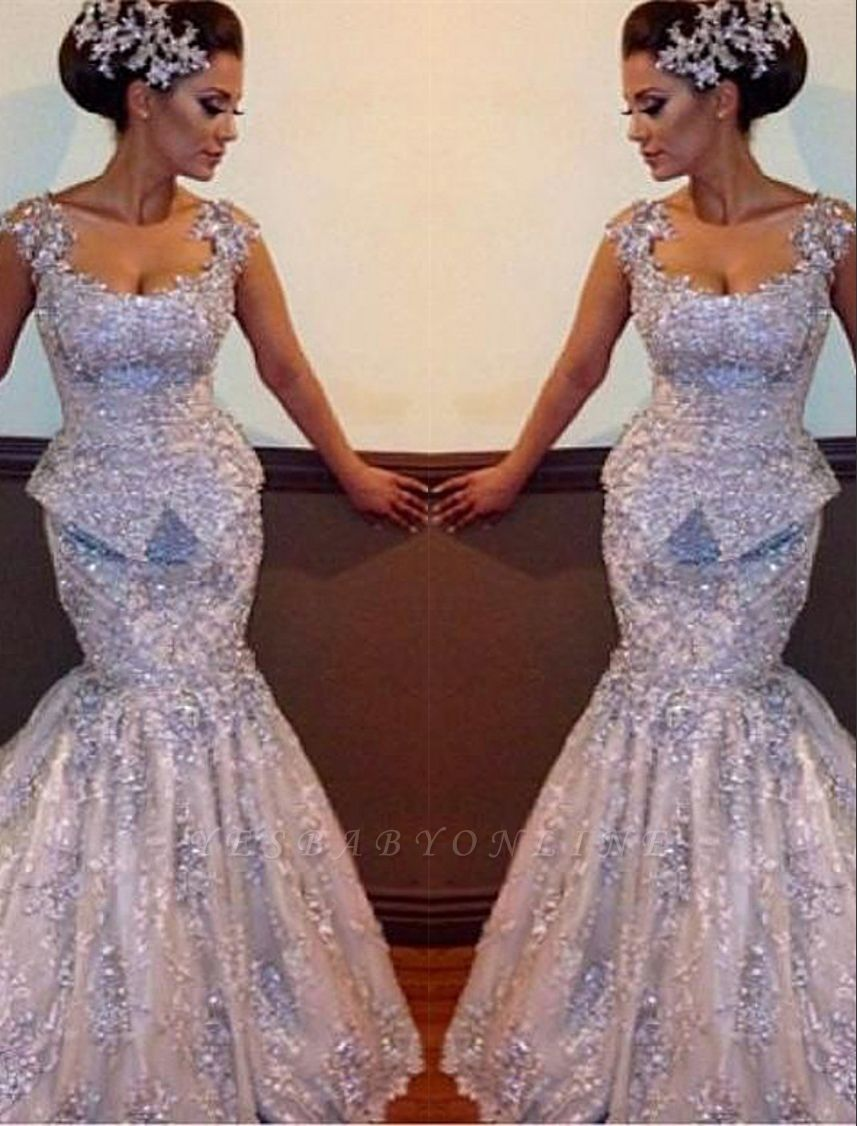Amazing Appliques Sparkly Sleeveless Sequins Mermaid Open-Back Evening Dresses