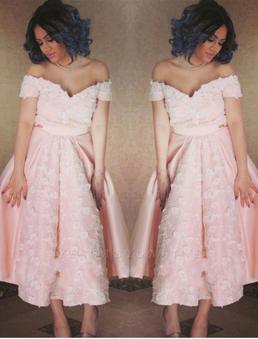 Pink Appliques Off-the-Shoulder Elegant A-Line Prom Dress