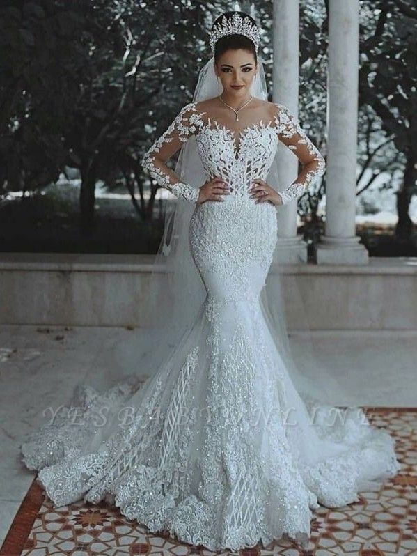 Glamorous Long Sleeve Wedding Dress | Mermaid Lace Bridal Gowns
