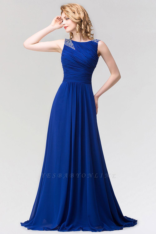 A-line  Jewel Sleeveless Ruffles Floor-Length Bridesmaid Dress with Beadings