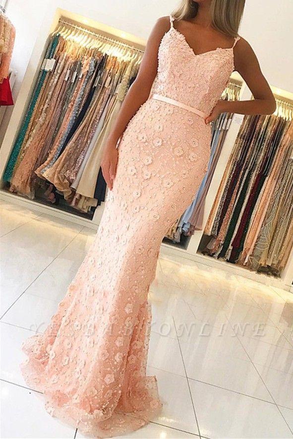 Elegant Pink Sheath Long Prom Dress | Spaghetti Straps Flowers Sleeveless Evening Dress BC2487