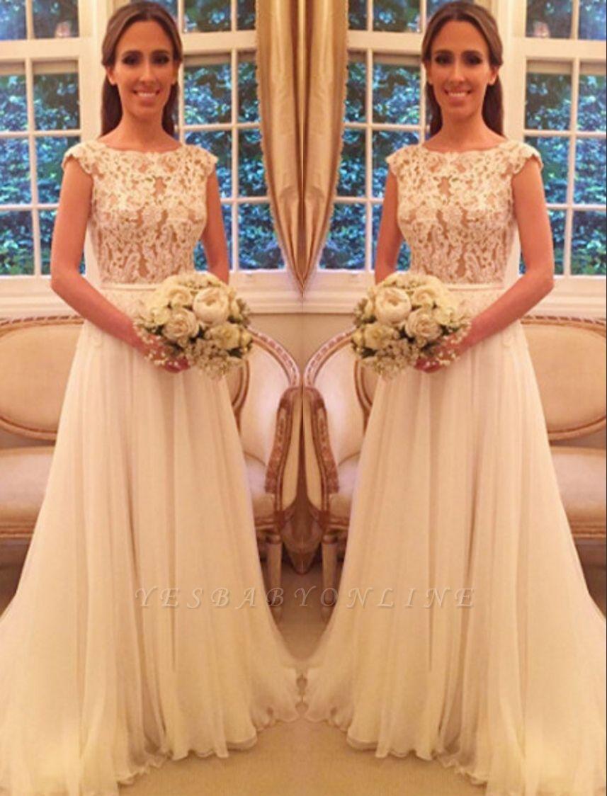 Chiffon Applique A-Line Open-Back Cap Sleeves Glamorous Wedding Dresses