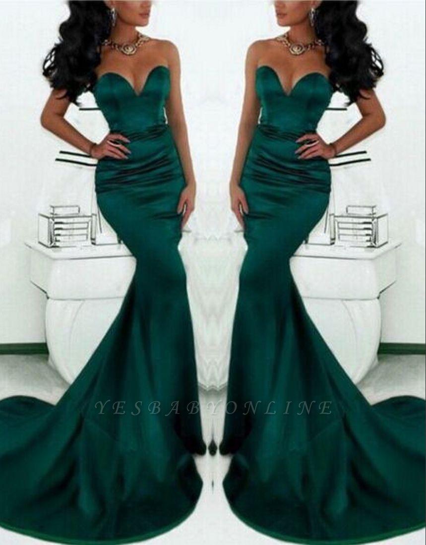 Simple Green Mermaid Prom Dresses