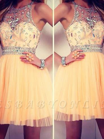 2019 tulle dresses homecoming sleeveless cyristal round neck short/mini prom dresses