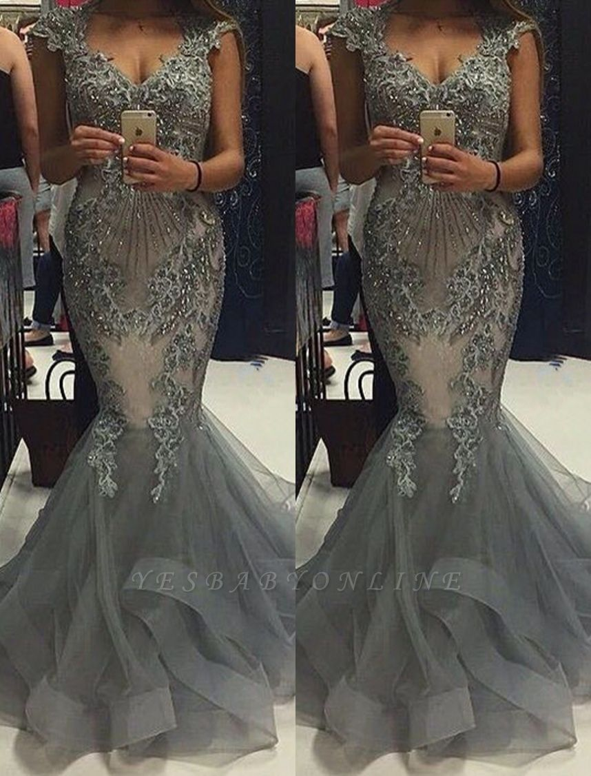 Luxury Grey Mermaid Prom Dresses Capped Sleeves V-Neck Formal Gowns